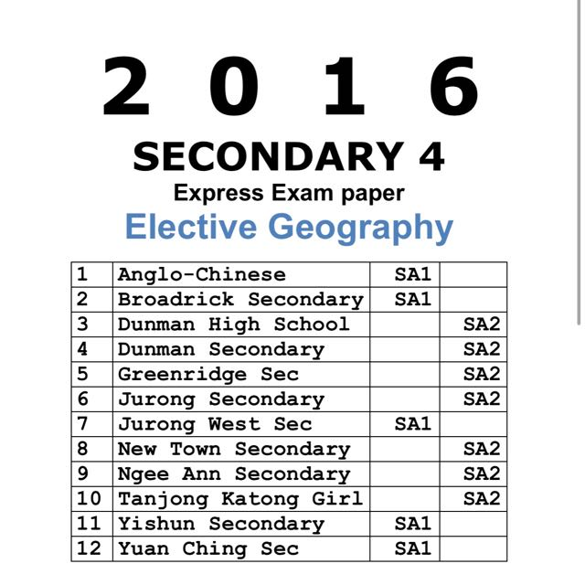 2016 Secondary 4 Express Elective Geography Past Year Prelim Exam Papers  (soft copy)