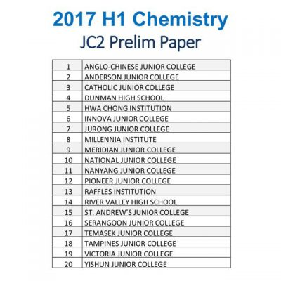 2017 A Level Junior College JC1 H2 Chemistry Promotional